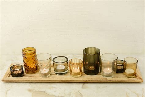 Votive Candle Holder Tray Wood Tray With 9 Votive Holders 22in
