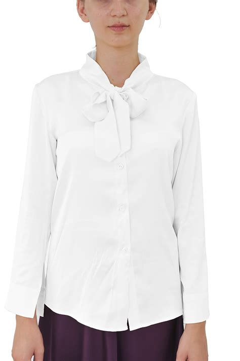 tie neck sleeve shirt marycrafts womens classic office sleeve high collar