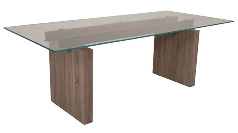 modern trestle dining table driftwood base 12mm tempered