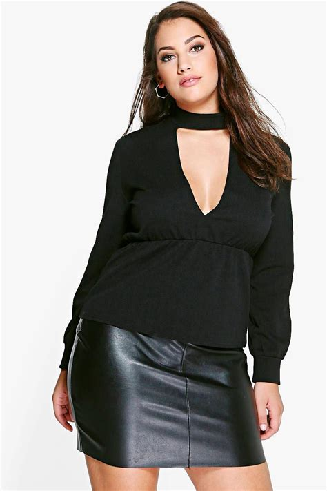 Top Roses Peplum 13277 plus choker detail peplum top at boohoo