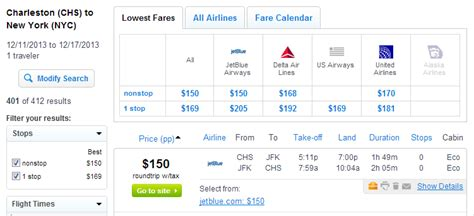 150 169 flights between nyc and charleston roundtrip incl tax fly travel