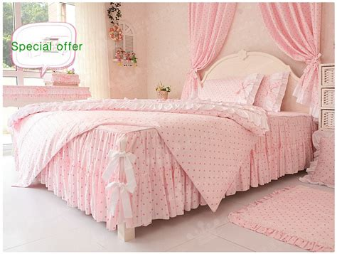 free shipping beautiful princess ruffle comforter set pink