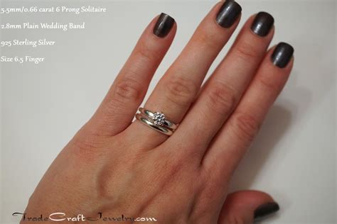 Wedding Bands To Pair With Solitaire by Classic 6 Prong Cz Engagement Ring Solitaires Plain