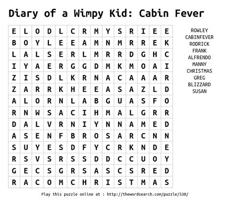 Diary Of A Wimpy Kid Cabin Fever Pdf by Word Search On Diary Of A Wimpy Kid Cabin Fever