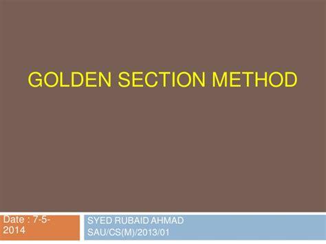 golden section method golden section method