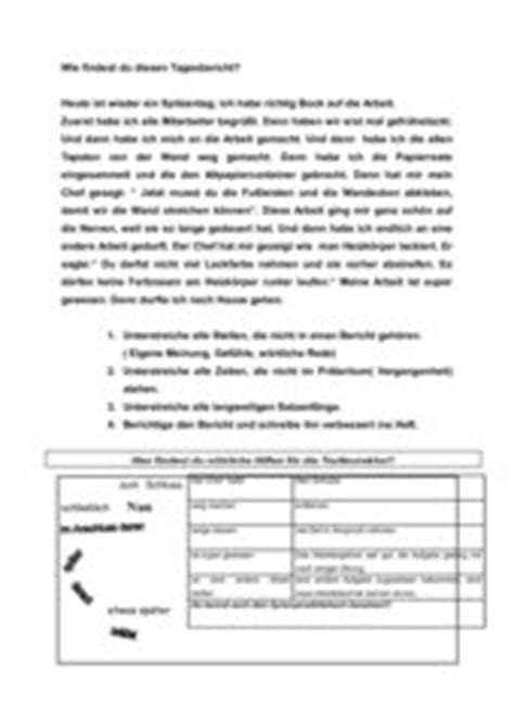 Tagesbericht Tabellarisch Vorlage 4teachers Negativbeispiel Tagesbericht Im Betriebspraktikum