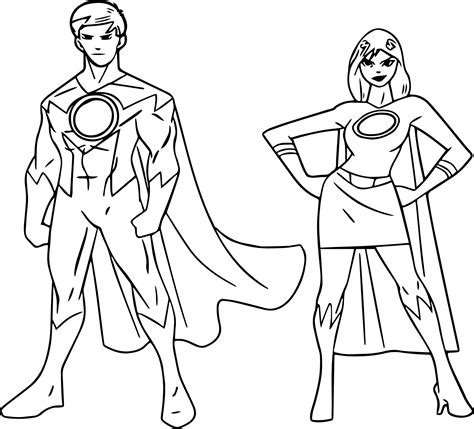 coloring pictures of girl superheroes boy and girl superhero coloring pages bltidm