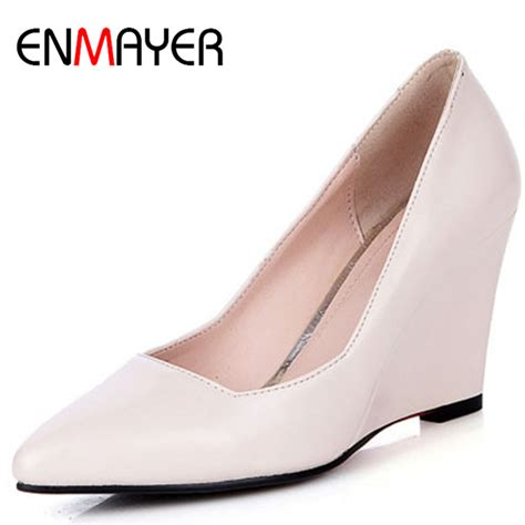 Beige Wedges For Wedding by Enmayer Fashion Wedges Shoes Pumps Beige Gold