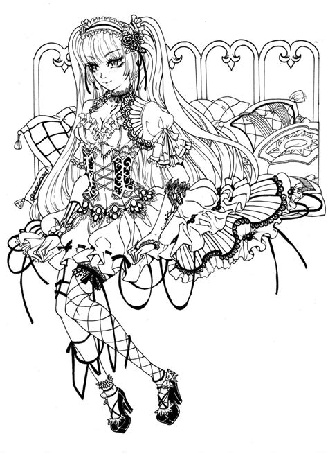 coloring book for goths loli sketch by berrykuro deviantart on