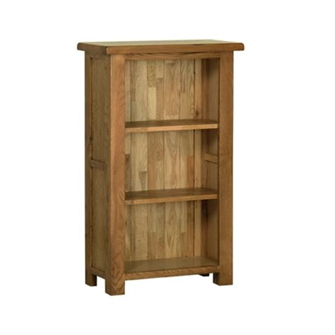 rustic oak bookcase 3 small narrow cranleigh furniture