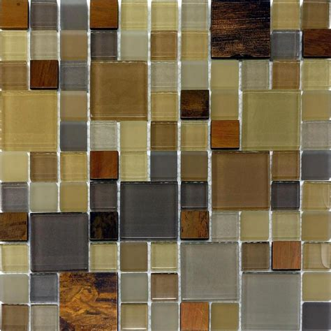 mosaic tiles backsplash kitchen sle copper insert pattern glass mosaic tile kitchen backsplash brown beige ebay