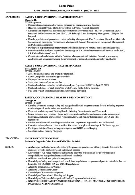 Occupational Safety Resume safety occupational health resume sles velvet