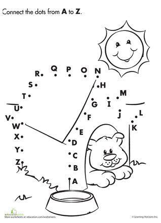 printable dot to dot a z alphabet dot to dot dog house dog houses and worksheets