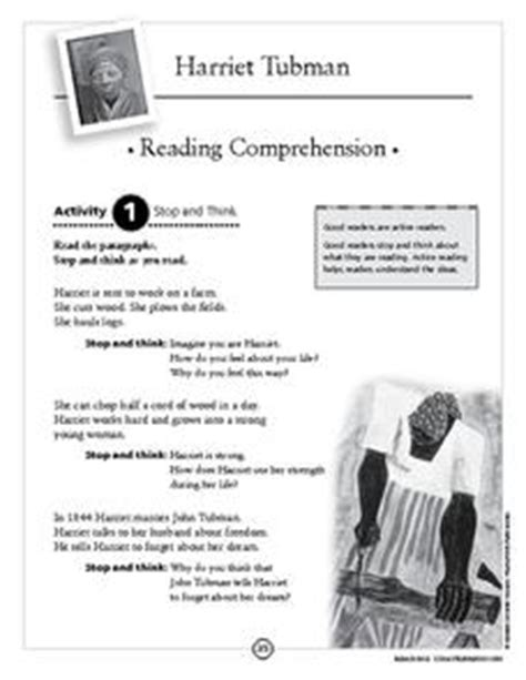 harriet tubman biography for third graders harriet tubman reading comprehension 2nd 4th grade