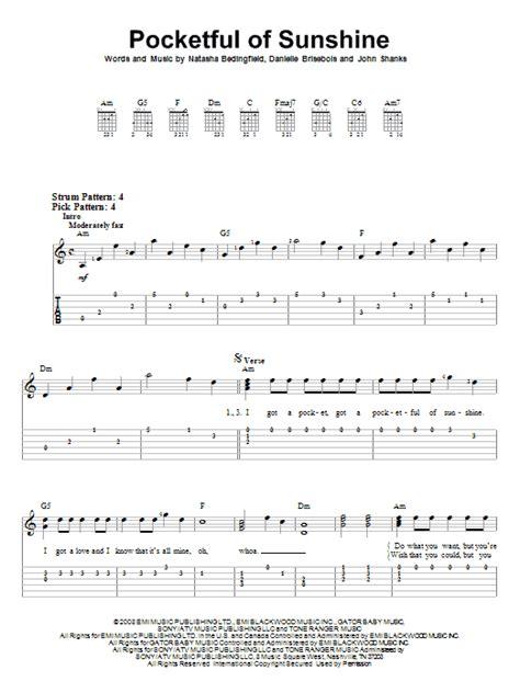 printable lyrics to unwritten pocketful of sunshine sheet music direct