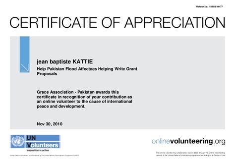 un appreciation letter voluteering for un certificate