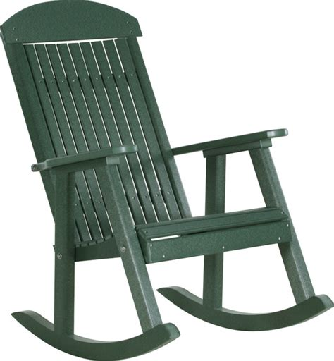 Modern Outdoor Rocking Chair by Poly Highback Porch Rocking Chair Green Modern