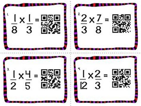 multiplying fractions using cards template qr codes math task cards and cards on