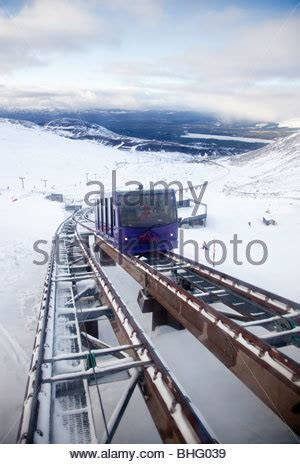the funicular railway running in the cairngorm mountains