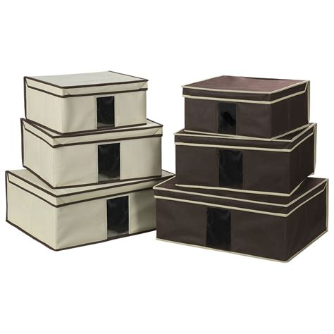 Promo 3 Window Storage finether set of 3 foldable fabric storage box with lid and see through window garment rack