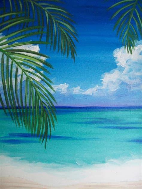 watercolor tutorial beach wine design ocean palm trees watercolor and acrylics