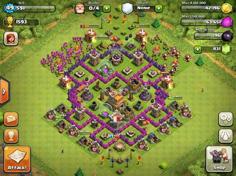 layout level 7 town hall clash of clans town hall level 7 defence layout www