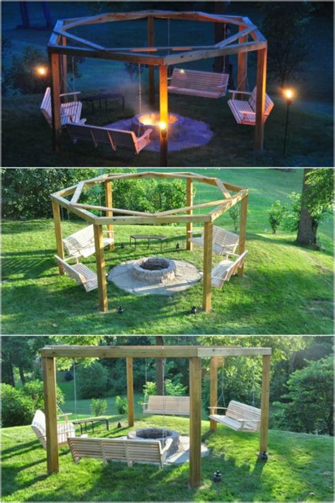 bench swing fire pit 10 diy garden swings that unite beauty and function diy