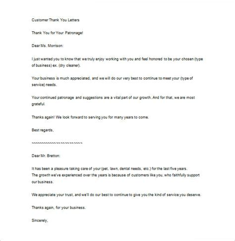 sle business thank you note to customer