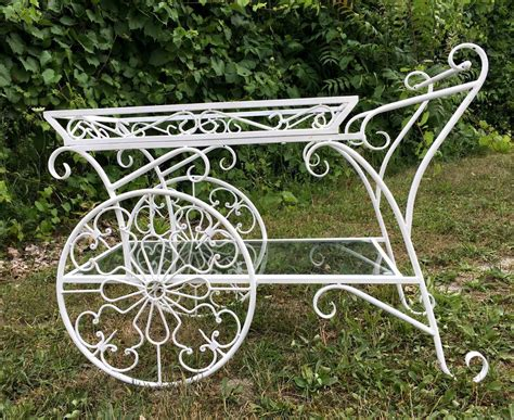 vintage french wrought iron metal garden plant stand