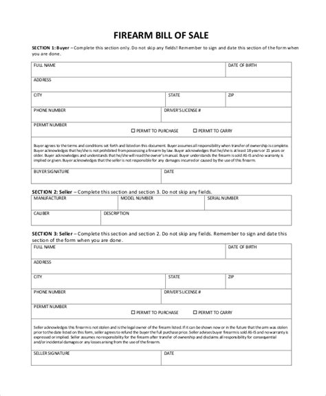 Bill Of Sale Trade Template sle firearm bill of sale 6 documents in pdf