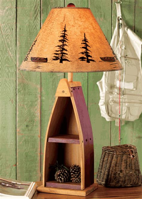 rustic table lamps canoe shelf table lampblack forest decor