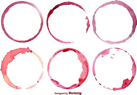 vector image vector set of 6 wine stains free vector