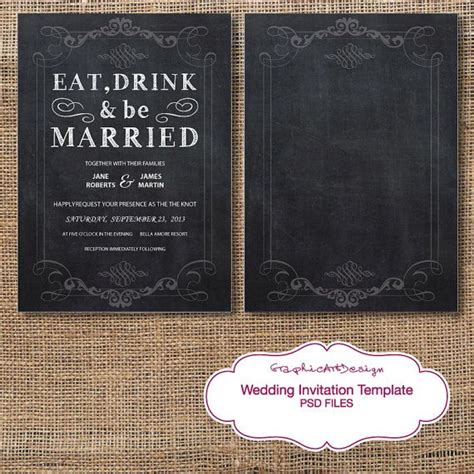 instant download chalkboard wedding invitation card