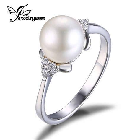 classic freshwater pearl ring anti tarnish rhodium