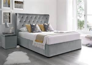 Grey Ottoman Bed Upholstered Winged Ottoman Storage Bed Velvet Grey Ottoman Beds Beds
