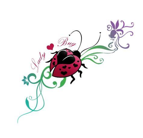 cartoon ladybug tattoo colorful ladybug with heart shaped spots on flowered stem