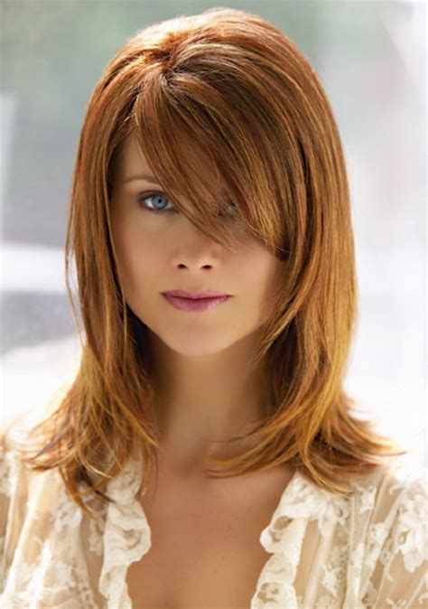 picture of haircut that is shoulder length with bangs and color brown medium length hairstyles with bangs 2016