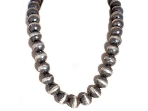 single strand large navajo pearl necklace handmade by