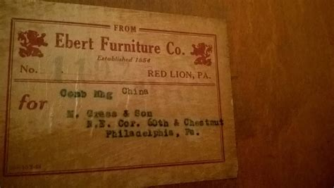 Ebert Furniture Co China Cabinet With Label On Back From Company To Buyer.  My Antique