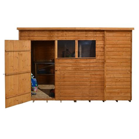 10 X 6 Pent Shed by 10 X 6 Overlap Pent Wooden Garden Shed Single Door 2