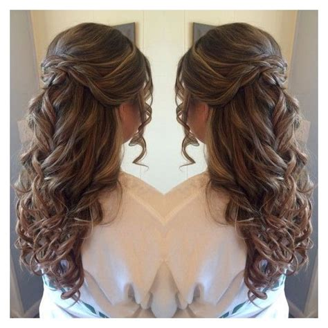 casual hairstyles for graduation half up half down prom hair liked on polyvore featuring