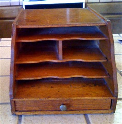 Antique Desk Organizer Antique Oak Desk Organizer Letter Box File W Drawer