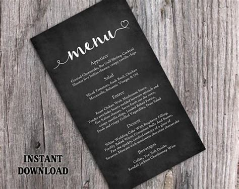 Editable Chalkboard Business Card Template Free by Chalkboard Wedding Menu Template Diy Menu Card Template
