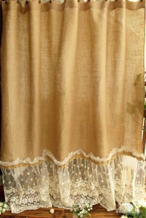 country chic shower curtains 72 quot shabby rustic chic burlap shower curtain lace ruffles