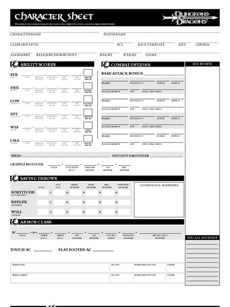 Dungeons & Dragons 3.5 Character Sheets | Fantasy Role