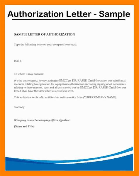 authorization letter layout 7 authorization letter format to collect documents time