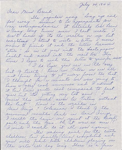 Letter Louise Letter To Clara Breed From Louise Ogawa Poston Arizona July Collections Japanese