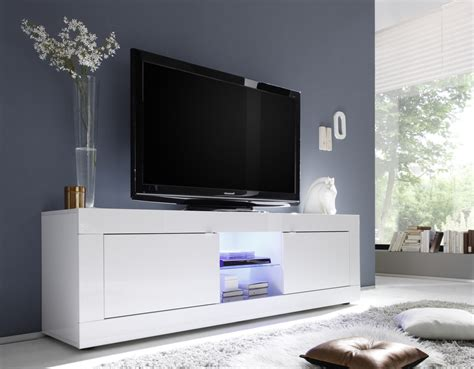 urbino collection big tv unit including led spot white gloss lacquer tv media units