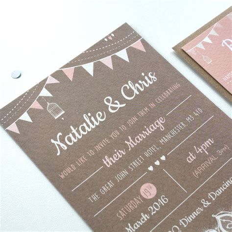 bunting wedding invitations blush bunting wedding invitations by rodo creative