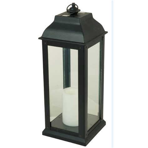 Lantern Patio Lights Shop 5 94 In X 16 In Black Glass Solar Outdoor Decorative Lantern At Lowes